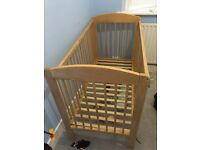 Childrens wooden cot and mattress