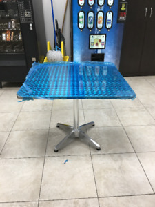 Square aluminum bistro tables for sale! 10 Brand new! Large!