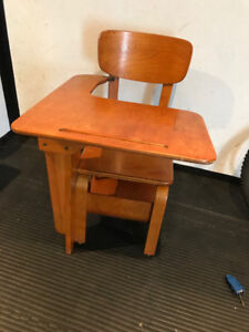 Refinished solid wood one piece school desk.