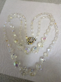 LADIES NEW. VINTAGE 1950'S STYLE DOUBLE STRAND CRYSTAL NECKLACE