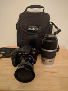 Sony Alpha A200 Camera w/ 3 Lenses, battery, charger,