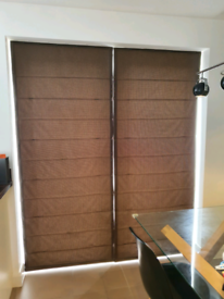 Pair of Marl Chocolate Roman Thermal Lined Blinds