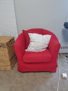 Ikea Armchair with Two Throw Pillows