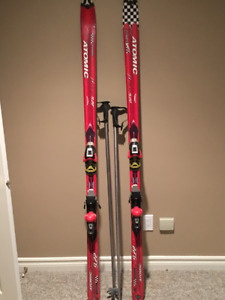 Used Atomic Beta Race Skies with Bindings and Poles 9.22