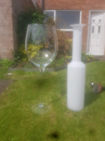 Decorative glass wine bottle and glass