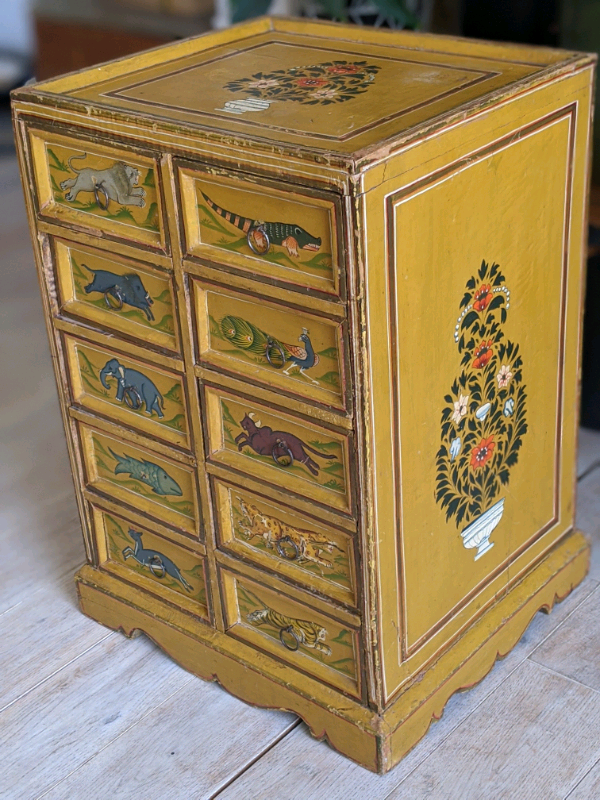 Vintage hand painted sideboard cabinet with 10 drawers ...