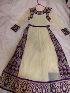 Purple and white Anarkali