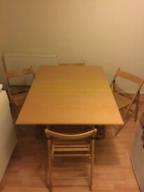 Foldaway Dining Table with Four Chairs