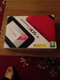 Red 3ds xl plus charger and eight games