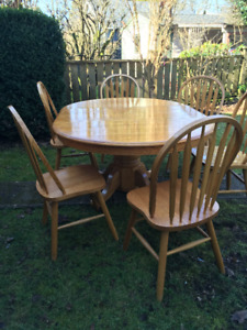 Solid Wood (Oak) 6 Person Dining Set - Table + Chairs