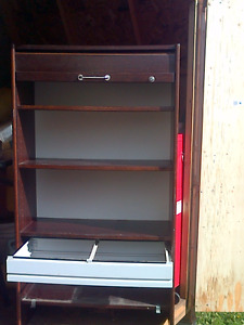 Roll down front IKEA mahogany finish file cabinet