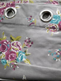 Lovely Next lined grey floral curtains in great condition