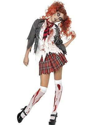 Fancy Dress Womens Halloween Zombie School Girl Scary Costume  (Scary School Girl Halloween Costume)