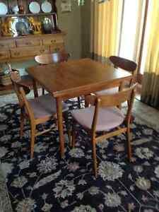 Vintage Mid Century Teak dining/card table 4 teak chairs