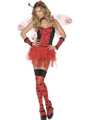 Damen Sexy Marienkäfer Kostüm Rot Schwarz, Erwachsene Verkleidung - Damen Sexy Marienkäfer Kostüm