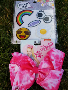 JoJo siwa signature Tie Dye Hair bow & Sticker Patches set