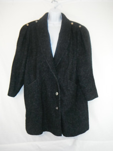 Size Large - XL,Retro Lined Fall Coat, Great Condition, Charcoal