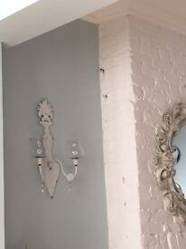 2 white shabby chic wall candle holders