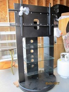 Flat Screen Swivel TV Stand with Glass Shelves