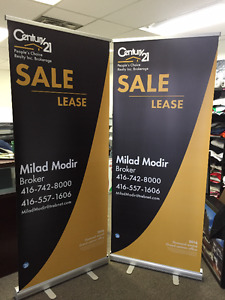 "Retractable Banners, Roll Up Banners, pull up Banner 33"" X 79"""