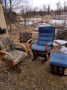 2 swivel chairs and a blue comfy slider chair with matching otto