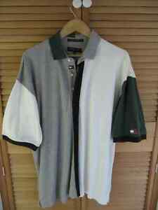 Tommy Hilfiger grey,white,navy blue and green polo