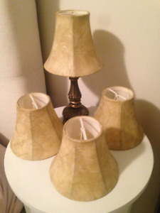 4 Small Faux Leather Lamp/Chandelier Shades+1 Small Black Silk