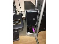 Hp desktop 1511 with desk, printer and monitor
