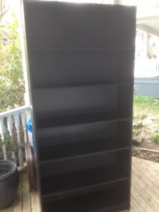 "Two Tall Black Wood Veneer Bookcases 77""x35.5""x11.5"""