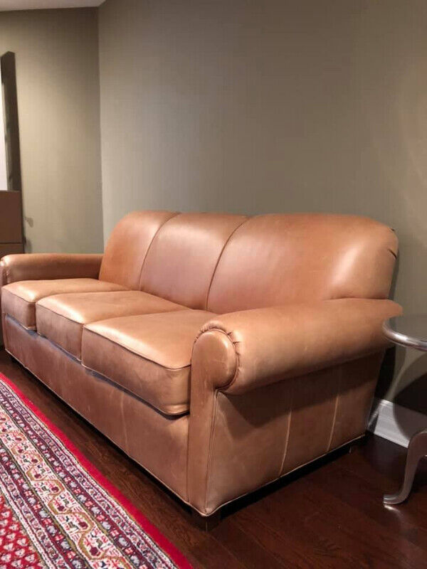 PORTLAND, ROLLED ARMED, LEATHER, SOFA & CHAIR BY NORWALK
