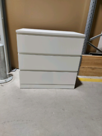 #RESERVED#IKEA Sheffield MALM Chest of 3 drawers, white, 80x78 cm. #Bargaincorne