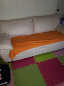 light white leather 3 seat sofa for sale