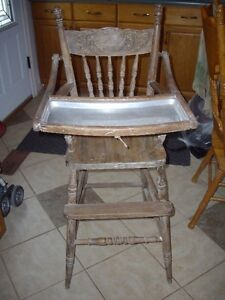 Antique High Chair- Press Back
