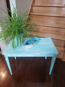Rustic Blue and White End Table