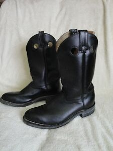Men's Black Steel Toe (Green Patch S/A) Cowboy Boots