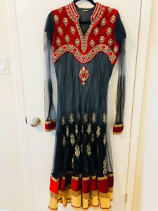 Indian/ Pakistani Dress Grey and Red