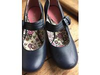 HUSH PUPPIES Mary Jane Bow Blue LEATHER Shoes Size 5.5   39