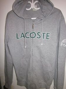 LACOSTE MENS GREY HOODY TRACK JACKET SIZE 5