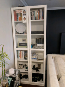 White Ikea Billy Bookcase with glass doors