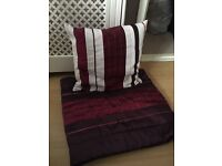 Purple Striped Runner and Cushion