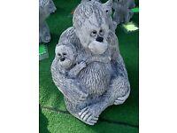 Stone Ornaments Frog in boat / Orangutan / Trotter Van
