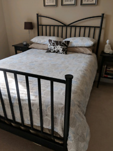 Double bed frame mattress boxspring 2 bedside tables