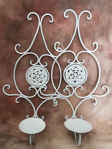 PAIR OF WHITE METAL CANDLE SCONCES