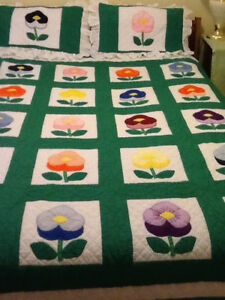 New QUEEN SIZED QUILT/SHAMS, HAND quilted &embroidered, flower