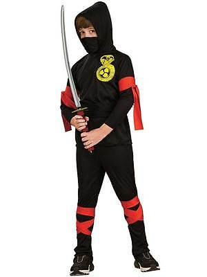 Child Black Ninja Fancy Dress Costume Martial Arts Uniform Warrior Kids Boys BN (Martial Arts Ninja Kostüm)