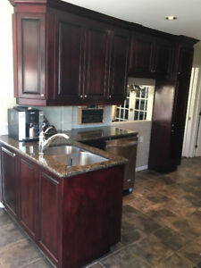 Armoires de cuisine en érable et comptoir en granite