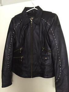 Harley Davidson dark purple leather jacket