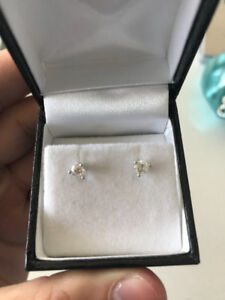 NEW 14K WHITE GOLD DIAMOND EARRINGS .40 CARAT WITH PAPERS