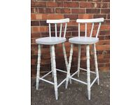 Set of two shabby chic high bar stools