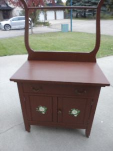 Antique Solid Wood Painted Washstand..Solid & Sturdy